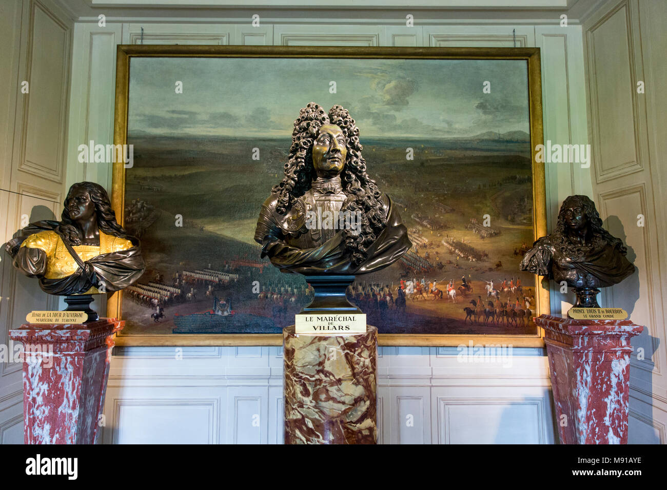 Vaux-le-vicomte castle. The Marshall's anteroom. Busts. France. - Stock Image