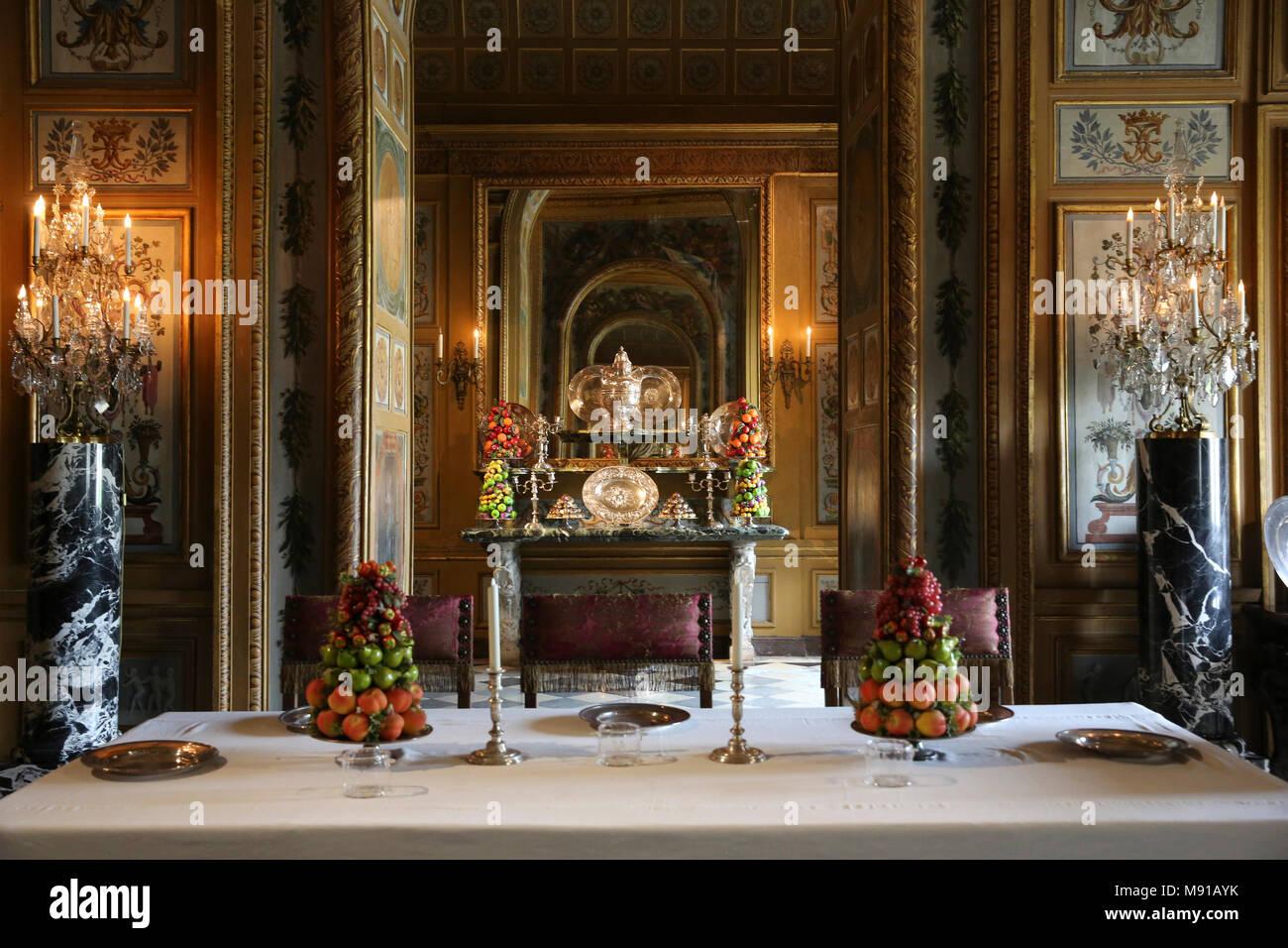 Vaux-le-vicomte castle. Dining room. France. - Stock Image