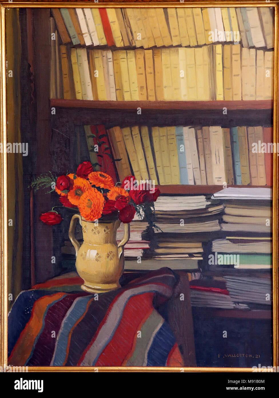 Maurice Denis museum, Saint Germain en Laye, France. Felix Vallotton, La bibliothque (The Library), 1921, oil on canvas. - Stock Image