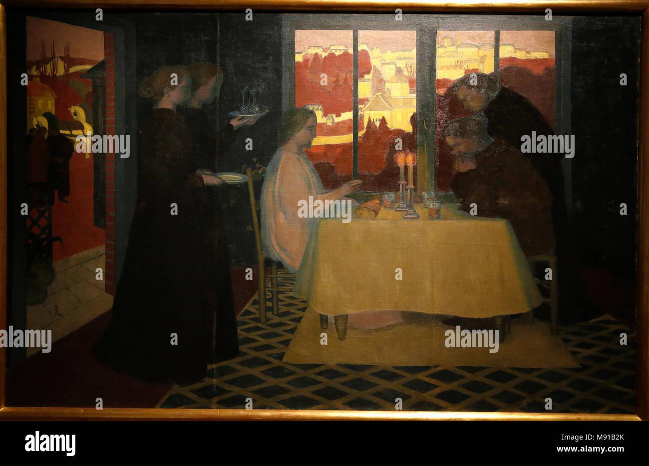 Maurice Denis museum, Saint Germain en Laye, France. Maurice Denis, Les Pelerins d'Emmaus (The Emmaus pilgrims), oil on canvas, 1895. - Stock Image