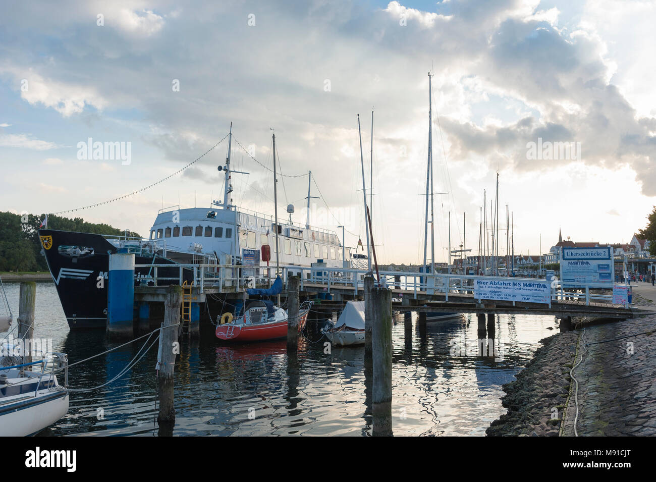Pier at the Trave river, Travemuende, Baltic Sea, Schleswig-Holstein, Germany, Europe - Stock Image