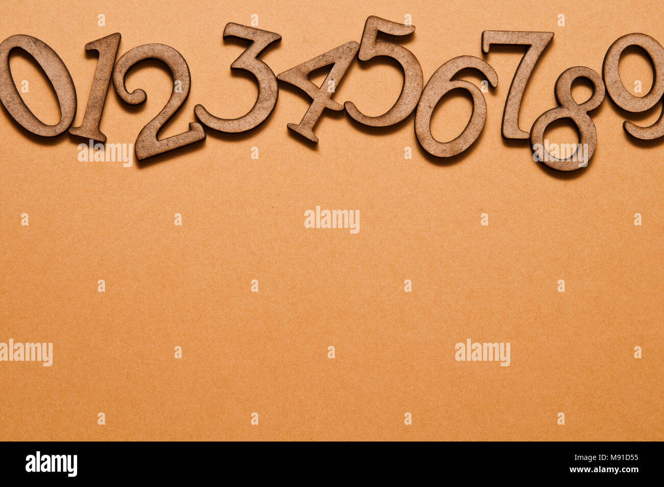wooden number one to nine in sequence - Stock Image