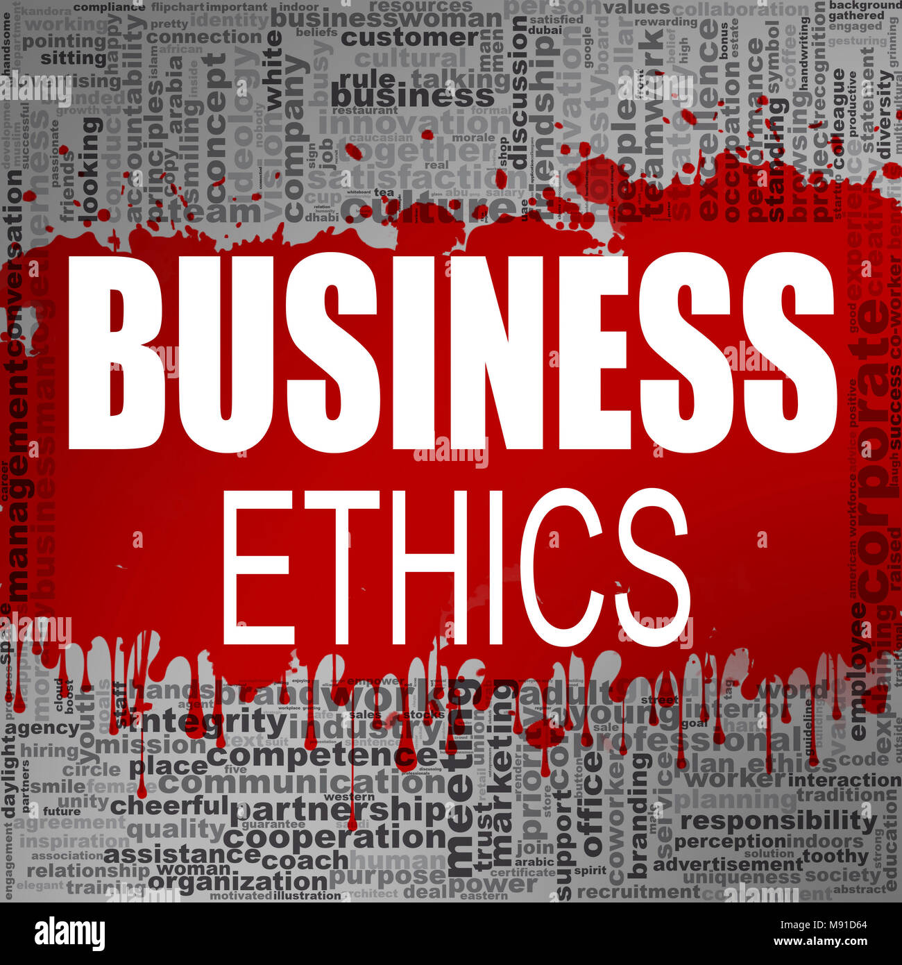 Business ethics word cloud. Creative illustration of idea word lettering typography . 3D rendering. - Stock Image
