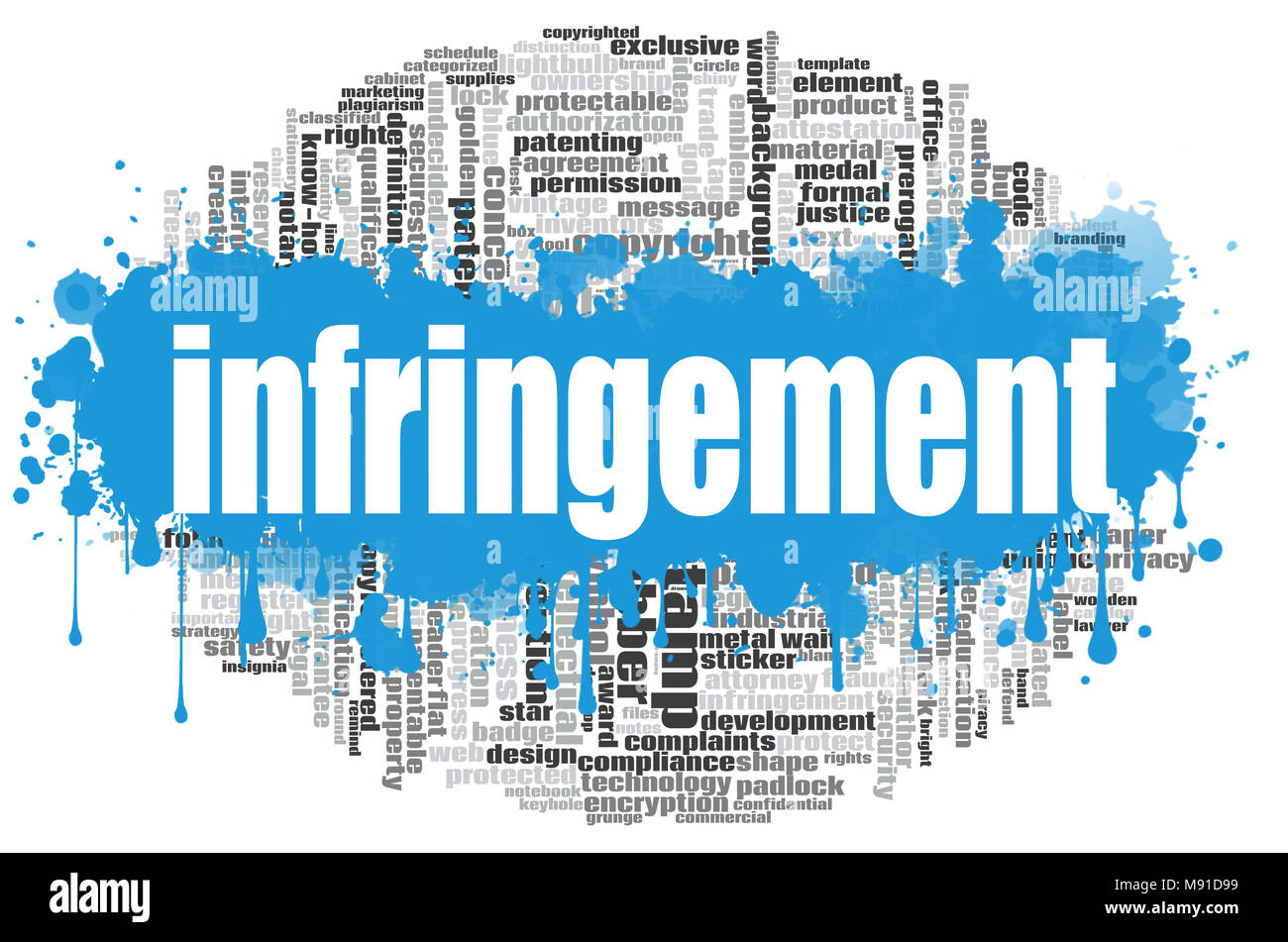 Infringement word cloud concept on white background, 3d rendering. - Stock Image