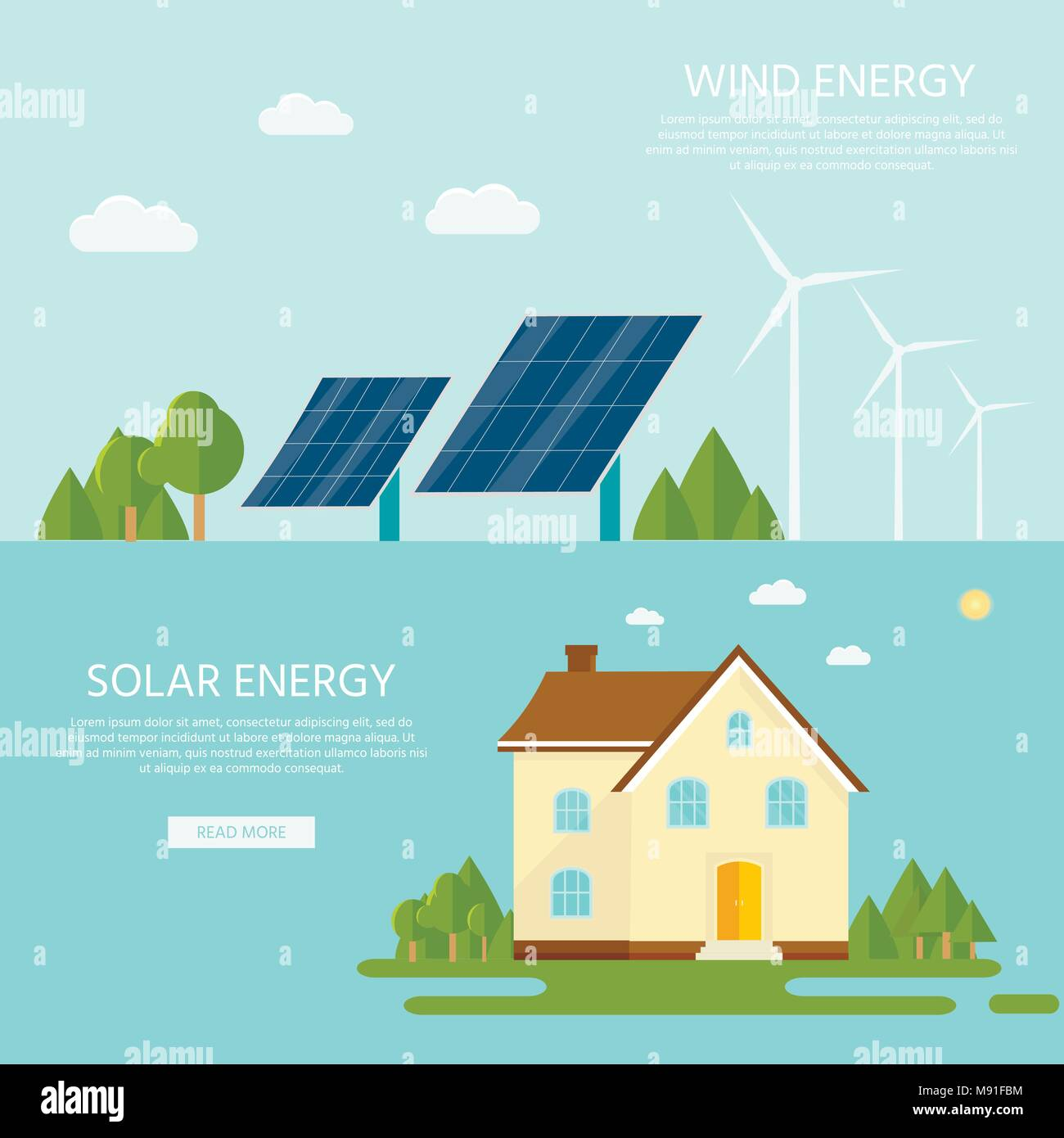 Green modern house with solar panels and wind turbine. Eco friendly alternative energy. Ecosystem infographics. Flat vector illustration. - Stock Vector