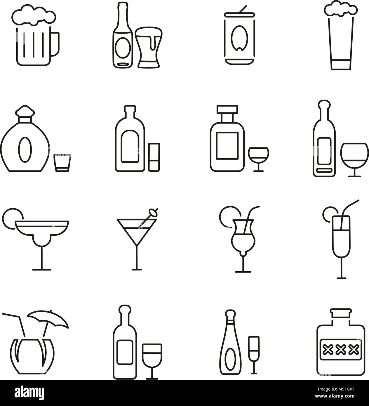 Alcoholic Drinks Icons Thin Line Vector Illustration Set Stock Vector