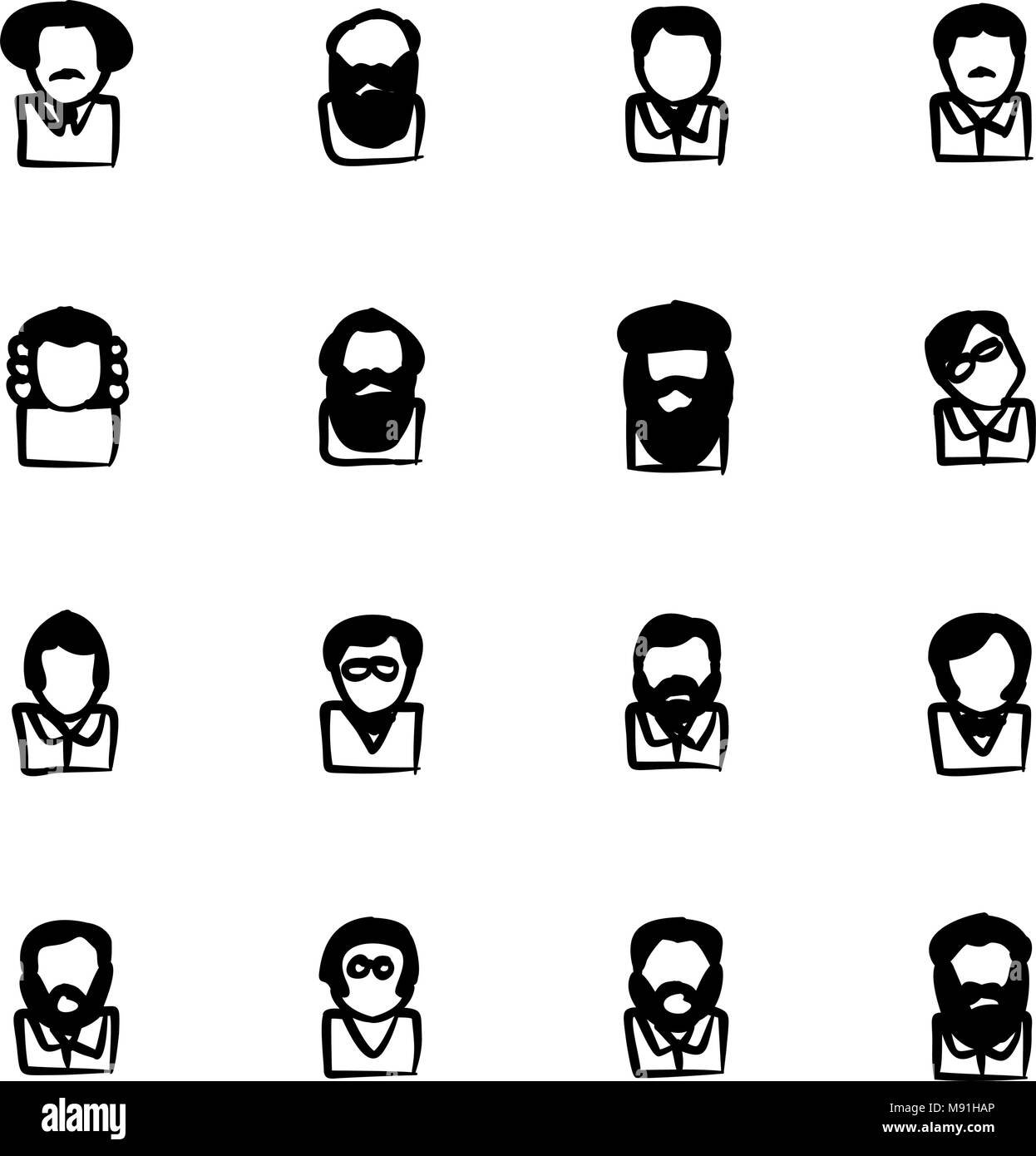 Avatar Icons Famous Scientists Thin Line Vector Illustration Set - Stock Vector
