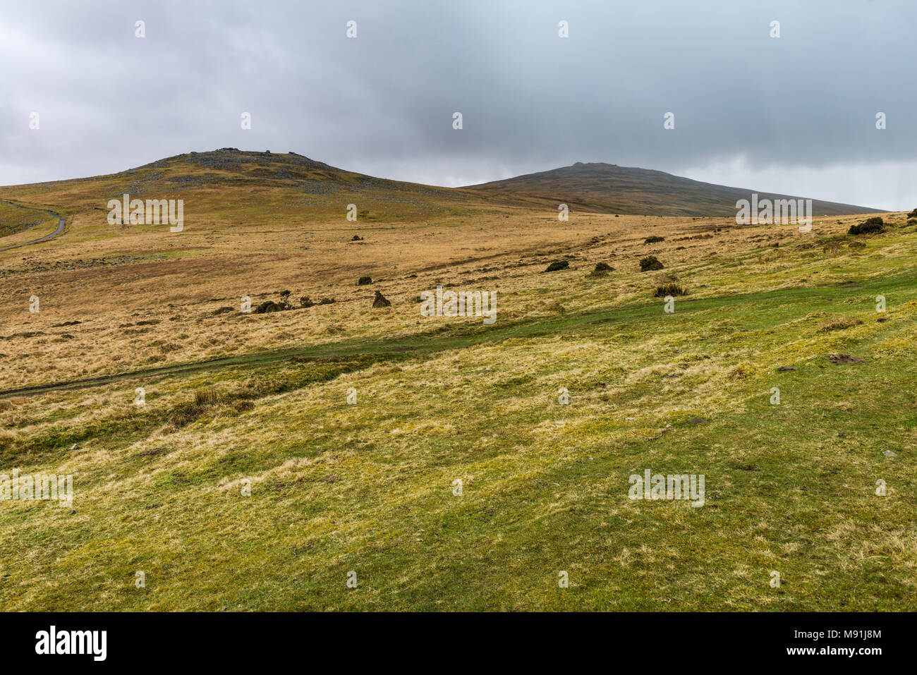 West Mill Tor, left and Yes Tor, right, in Dartmoor National Park, Devon, UK. - Stock Image