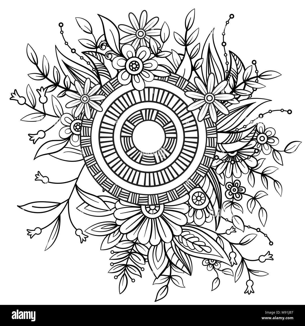 Floral Mandala Pattern In Black And White Adult Coloring Book Page
