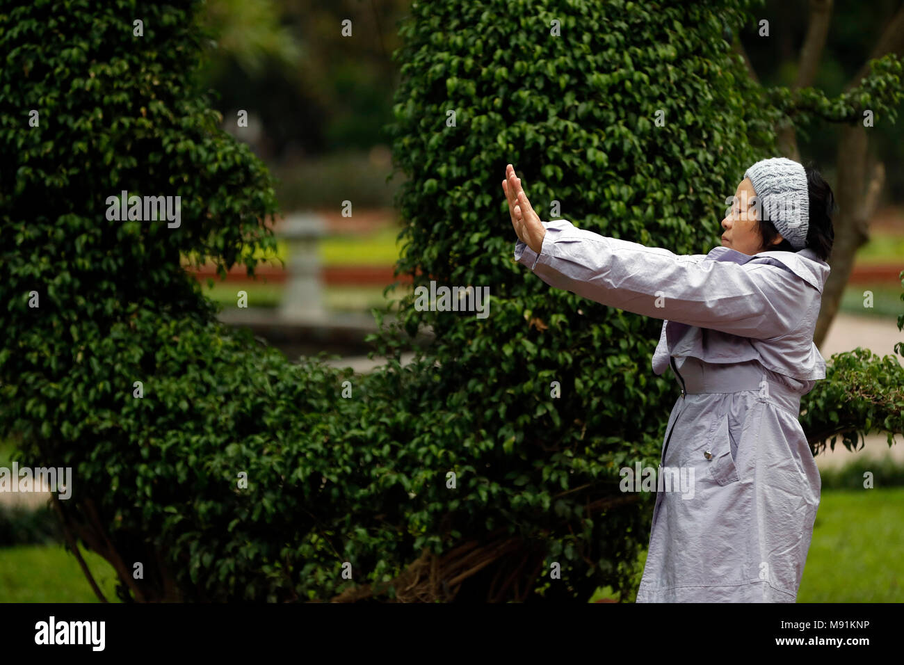 Woman do Tai Chi in the morning on the banks of Hoan Kiem Lake. Hanoi. Vietnam. - Stock Image