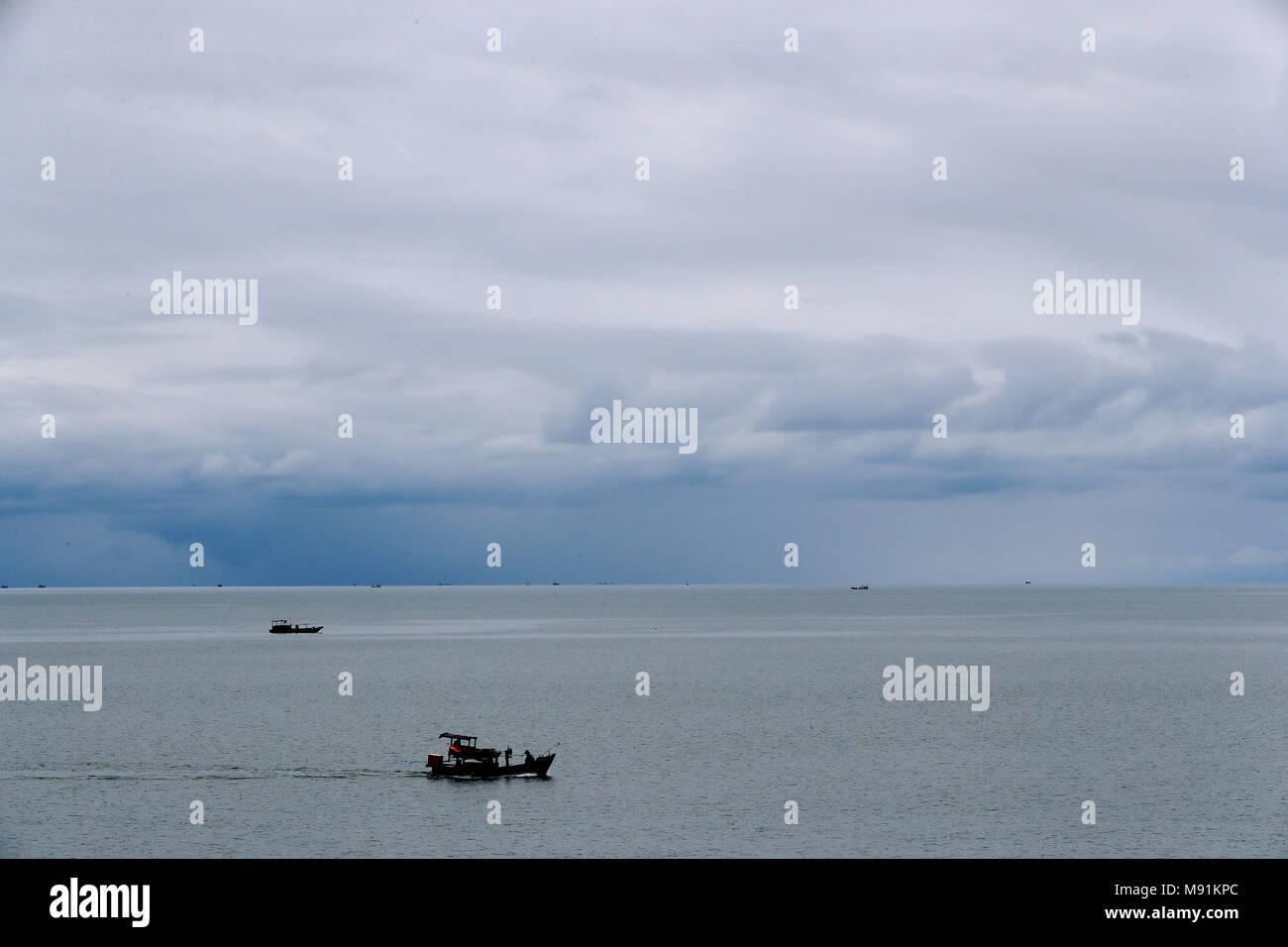Monsoon season. Fisher boat on the south China Sea.  Phu Quoc. Vietnam. - Stock Image