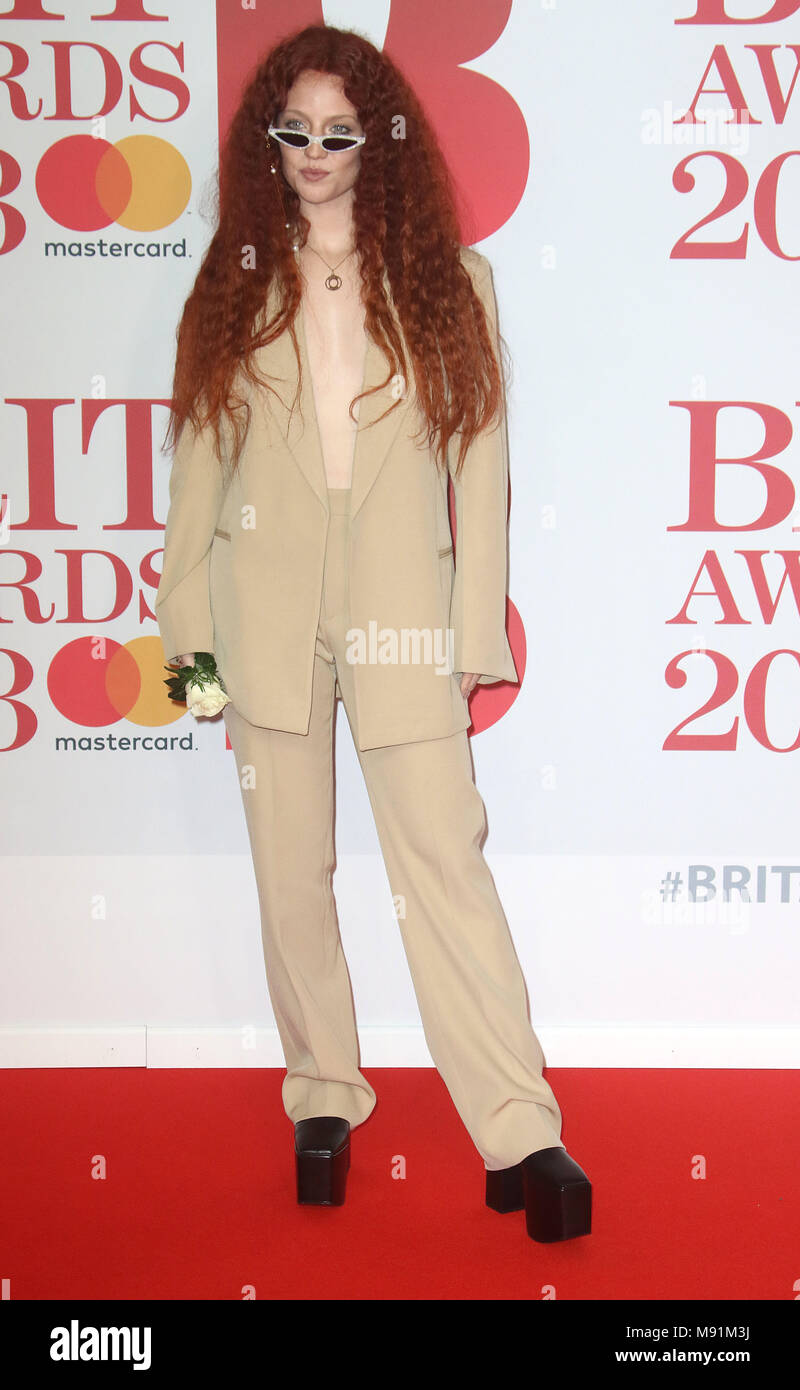 Feb 21, 2018  - Jess Glynne attending BRITS Awards 2018 at The O2 Arena London in London, England, UK - Stock Image