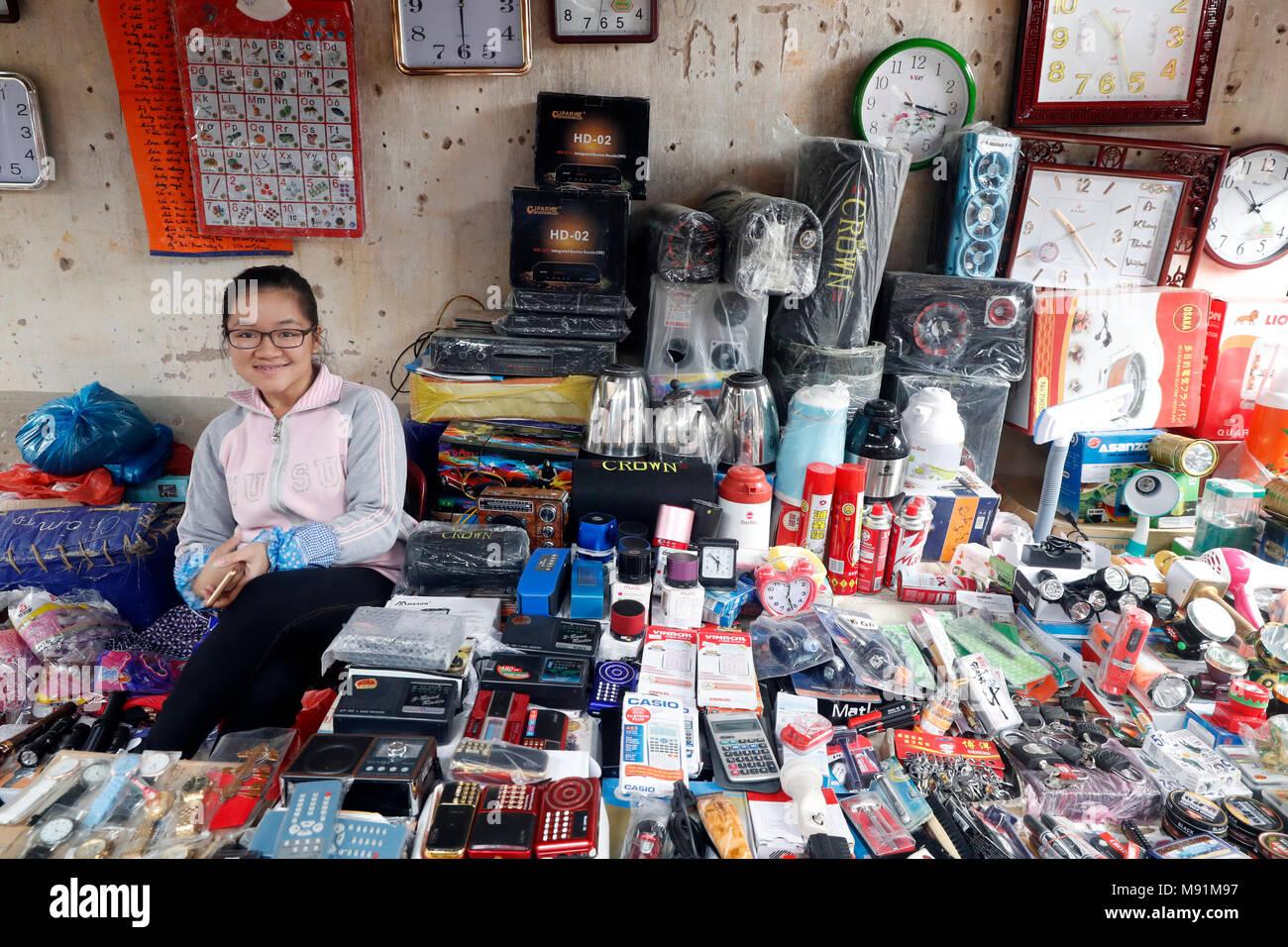 Stalls selling electronics in Van Quan market.  Van Quan. Vietnam. - Stock Image