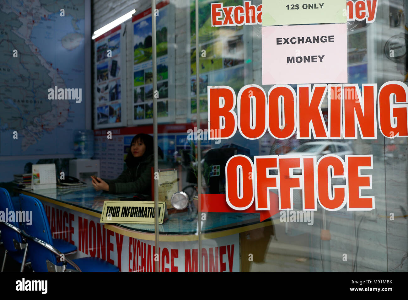 Travel agency. Booking office.  Hanoi. Vietnam. - Stock Image