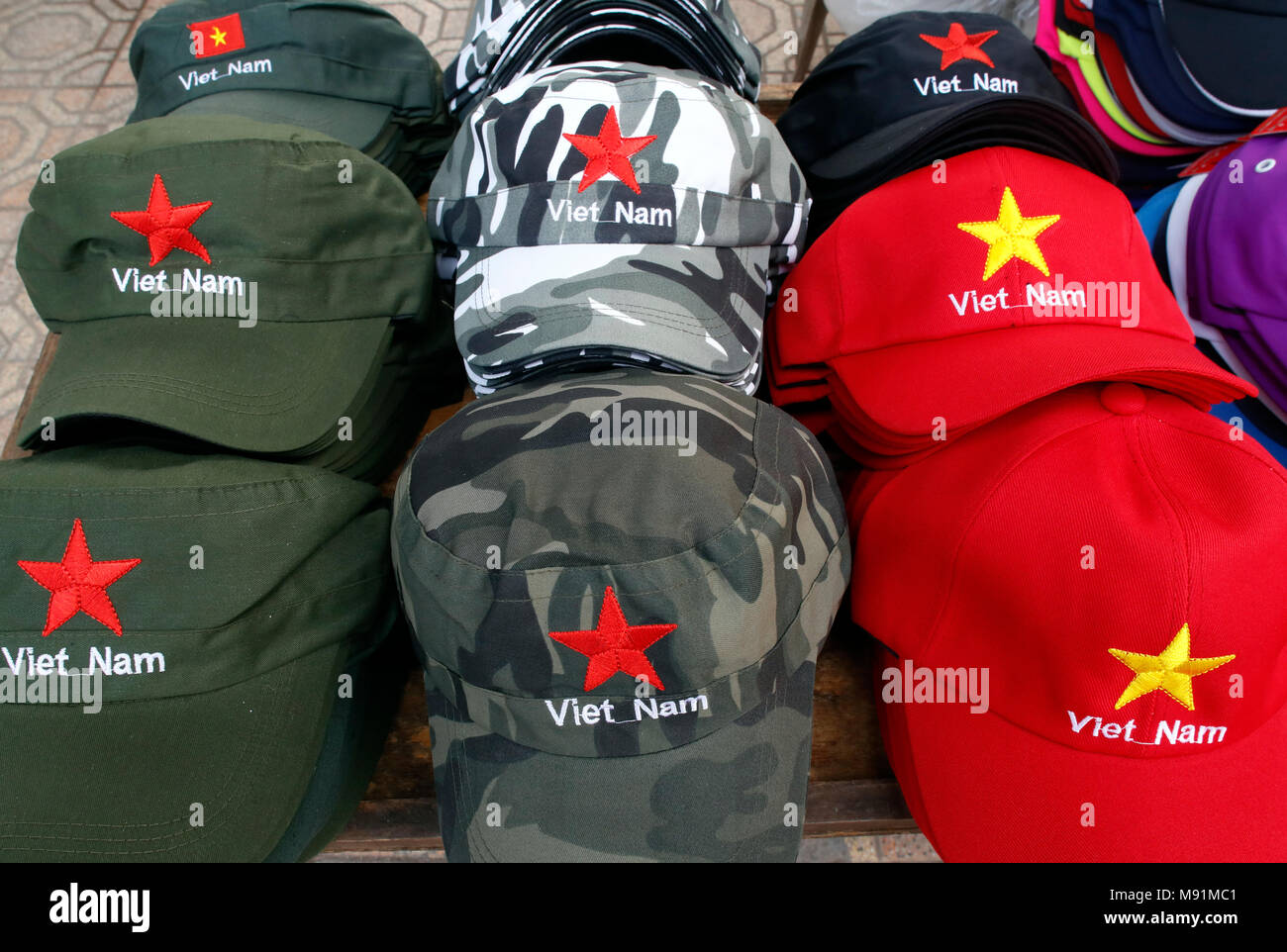 Vienam caps for sale at market.  Hanoi. Vietnam. - Stock Image
