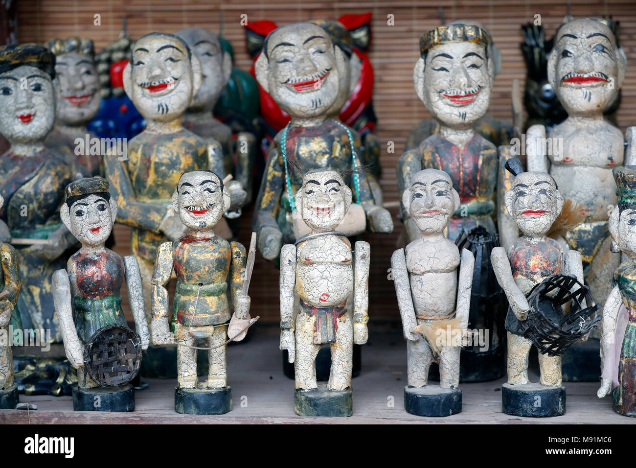 Water puppets lined up for sale, Temple of Literature. Hanoi. Vietnam. - Stock Image