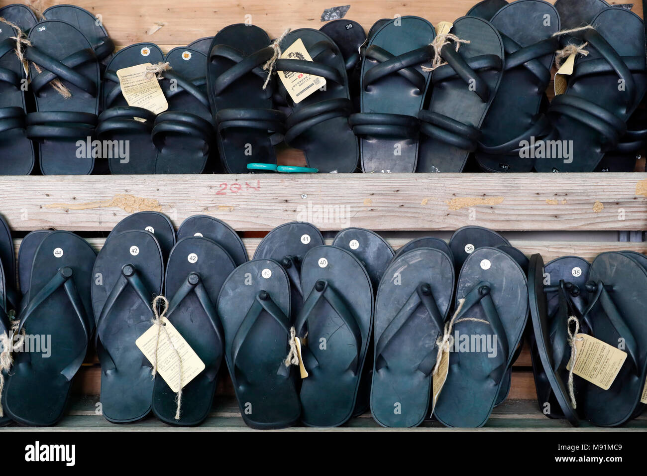 Ho Chi Minh sandals made from tyres.  Hanoi. Vietnam. - Stock Image