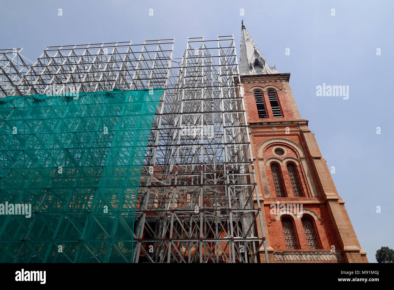 Ho Chi Minh City's iconic Notre-Dame Cathedral under a massive renovation.  Ho Chi Minh City. Vietnam. - Stock Image