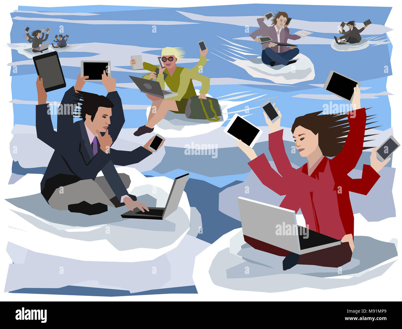 cloud-computing six-armed digital nomads flying to their next workplaces using all available mobile devices to be always connected to in the world - Stock Image