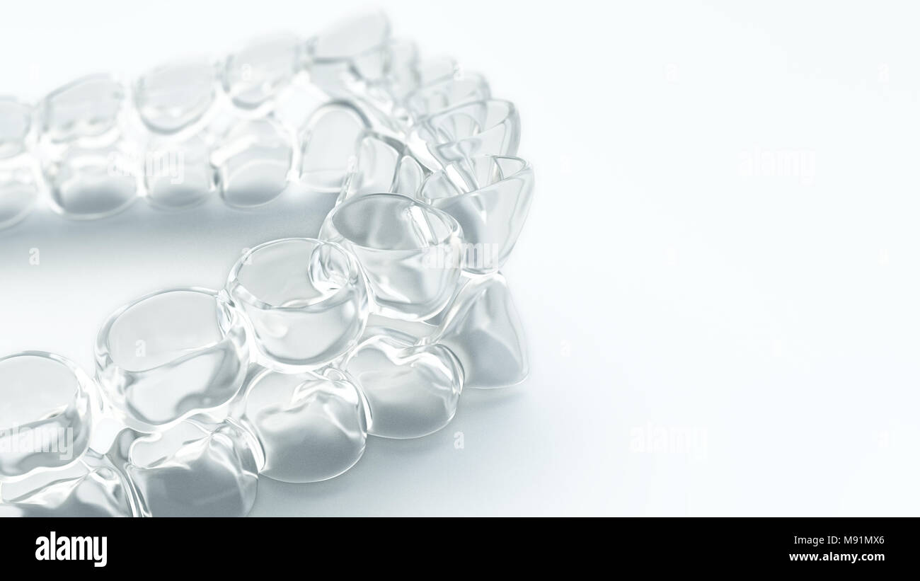 Invisible aligner, braces - 3D Rendering Stock Photo