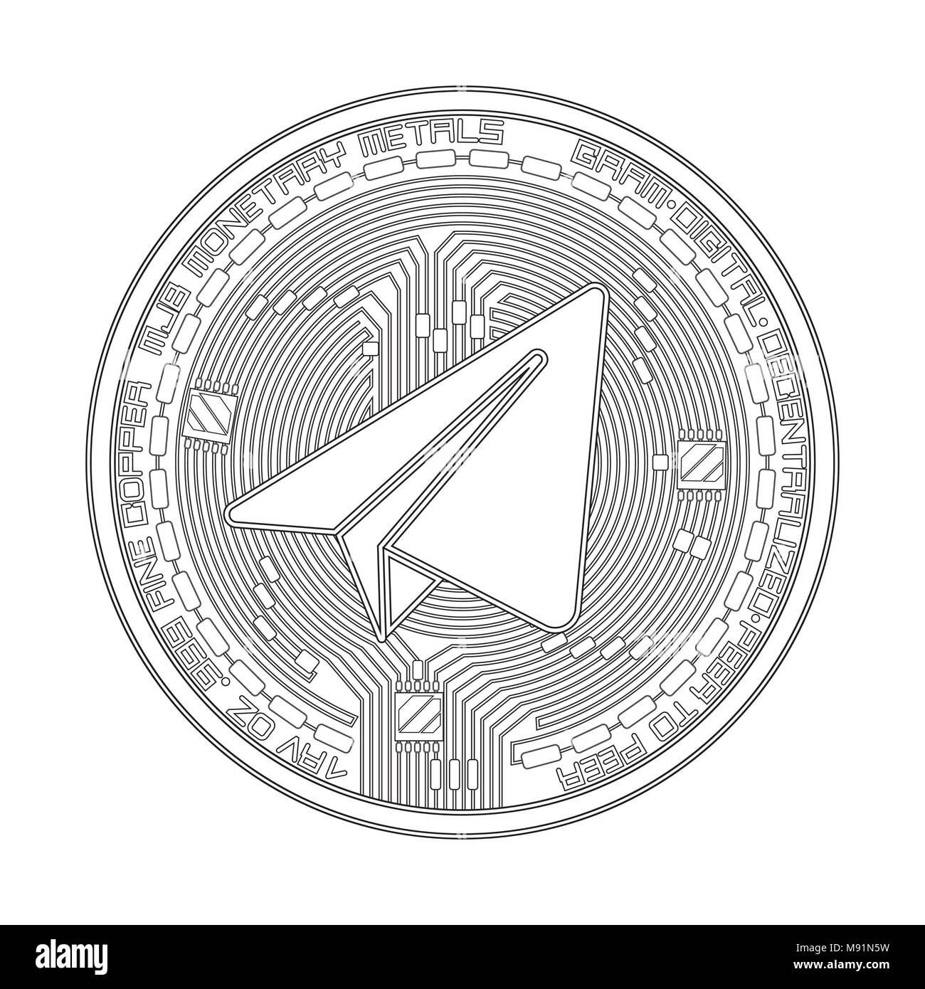 Crypto currency black coin with black gram symbol on obverse