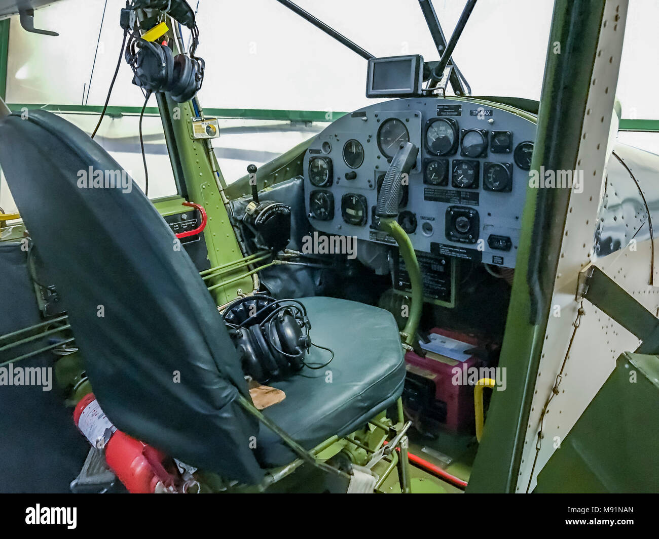 Pilots Seat of a Cessna Airplane. Stock Photo