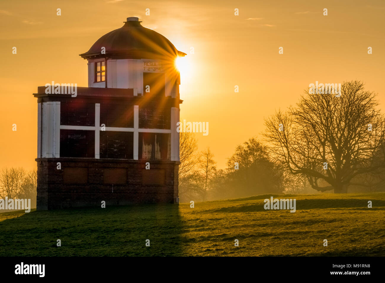 Sunrise at the race organisers directors box office at Pontefract Race Course, West Yorkshire, UK. Horse racing. - Stock Image