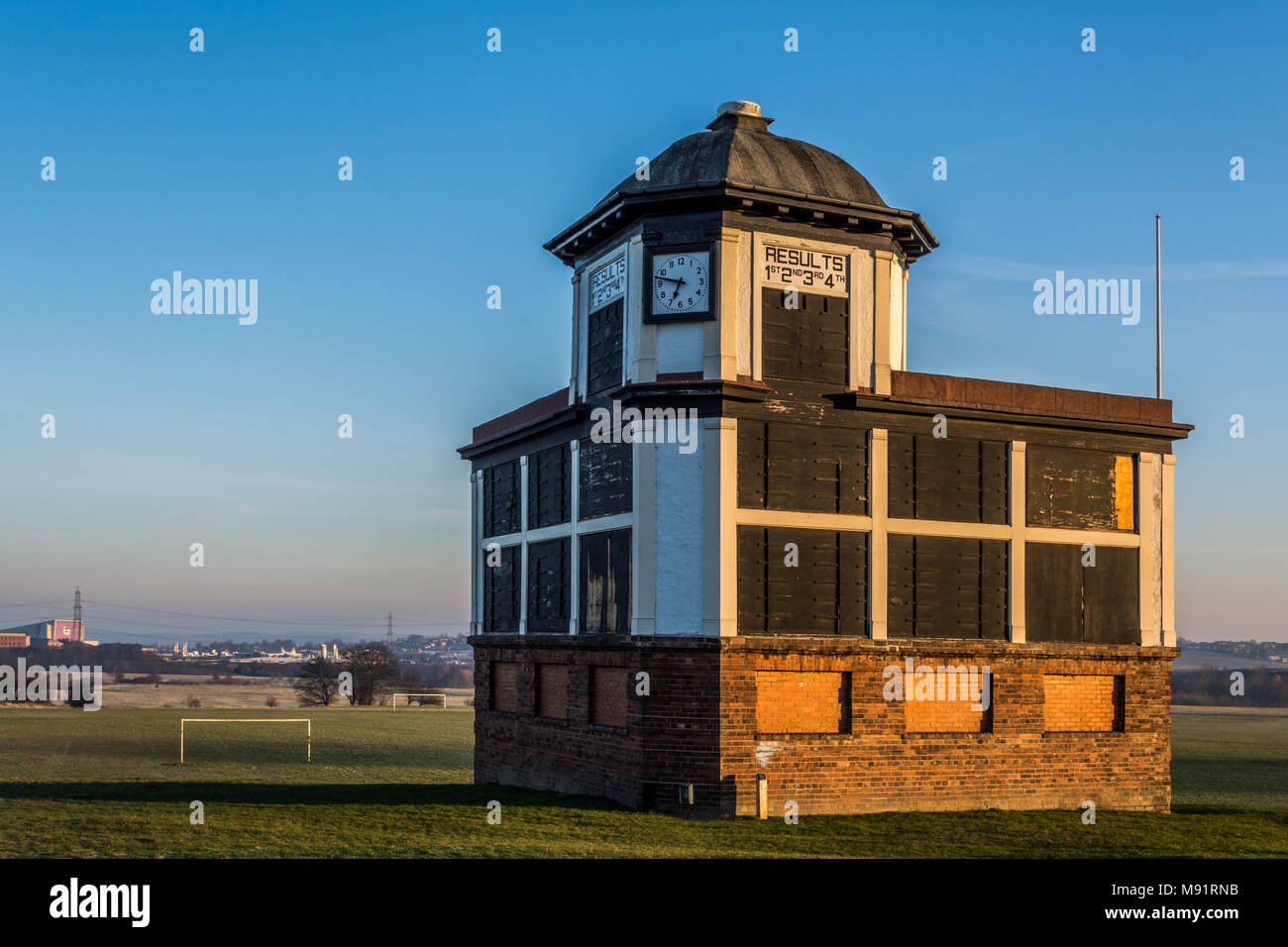 Race organisers directors box office at Pontefract Race Course, West Yorkshire, UK. Horse racing. - Stock Image