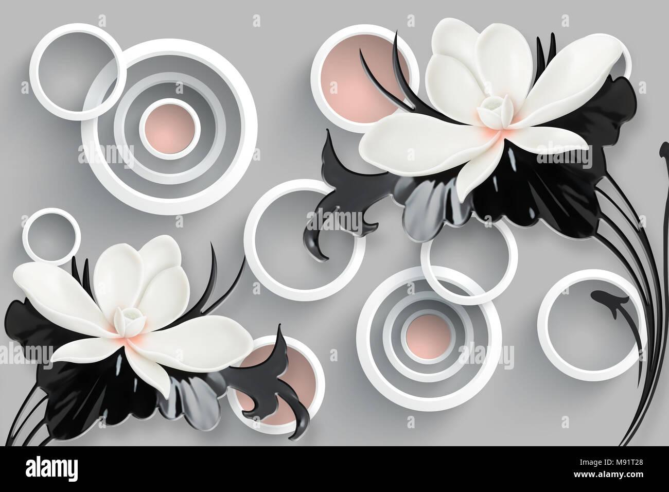 white flower 3d background wallpaper for walls M91T28
