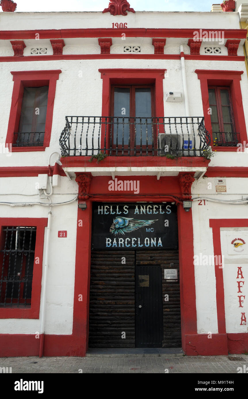 Barcelona headquarters Hells Angels Motorcycle Club Stock Photo ... 1b274ee3a02