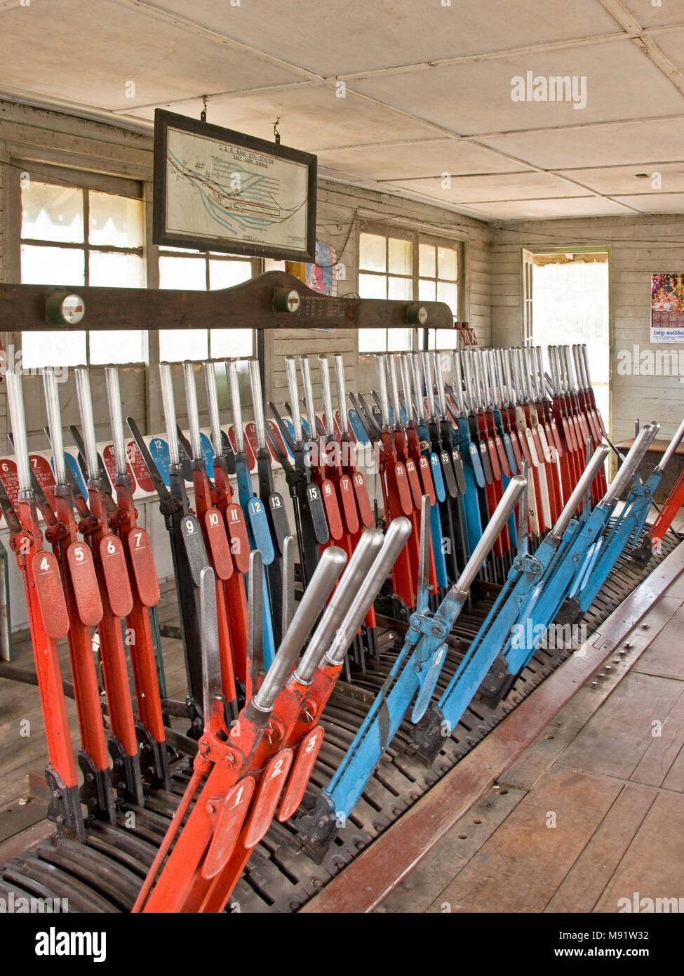 Inside the signal box at Nanu Oya railway station, Sri Lanka showing the levers used to switch the tracks. - Stock Image