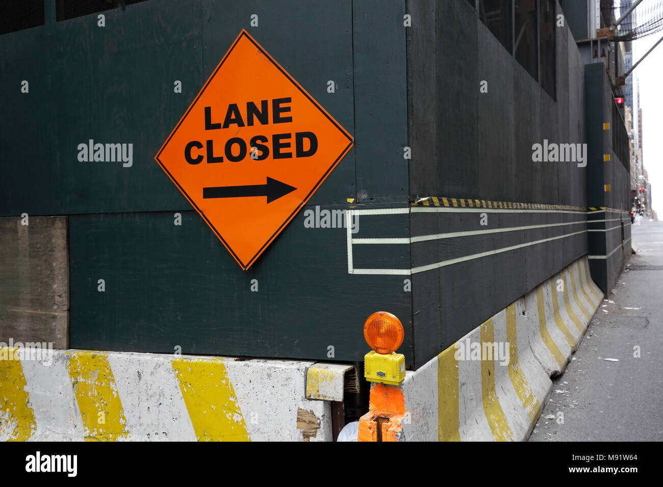 Lane Closed traffic sign in New York, NY, USA - Stock Image