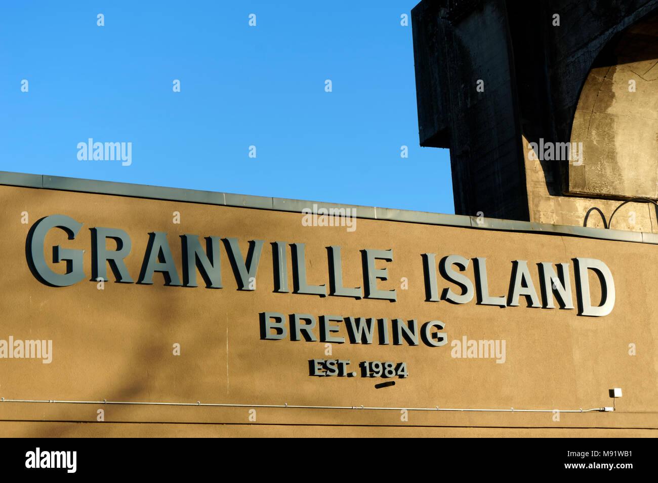 Granville Island Brewing company sign, Granville Island, Vancouver, BC, Canada - Stock Image