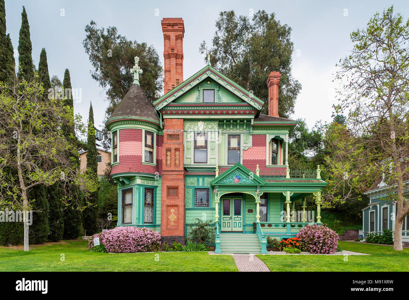 Hale House in Los Angeles California, a Queen Anne style Victorian mansion built in 1887 - Stock Image