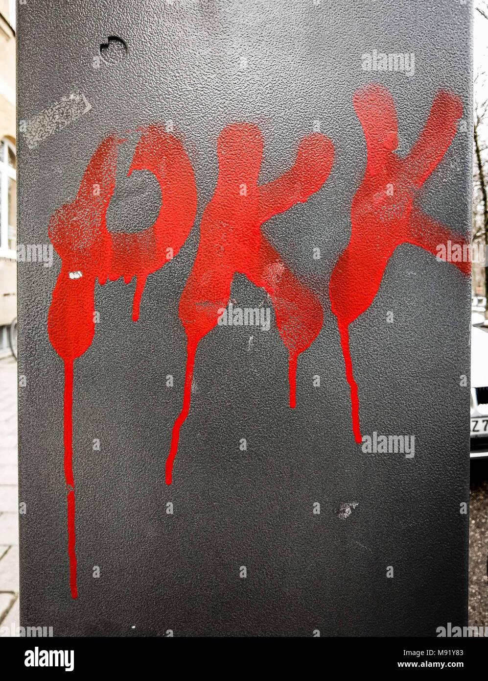 March 21, 2018 - PKK graffiti in a Kurdish neighborhood in Munich ...