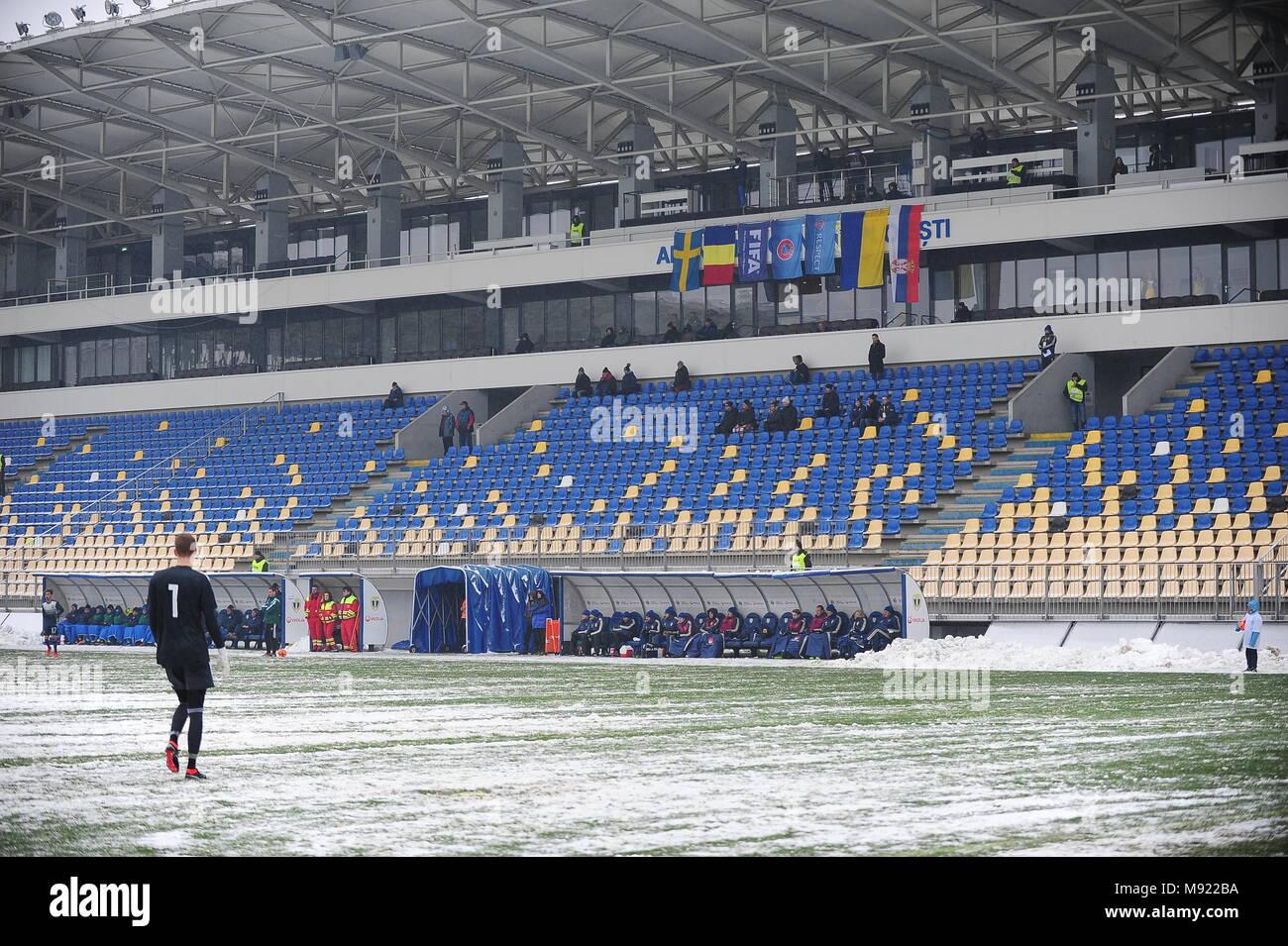 The empty tribunes of the Ilie Oana Stadium in loiesti, Romania - UEFA European Under 19 Championship 2018, Elite Round -  game between Sweden and Ukraine, Photo: Cronos/Cristian Stavri, Ploiesti, 21.March.2018 - Stock Image