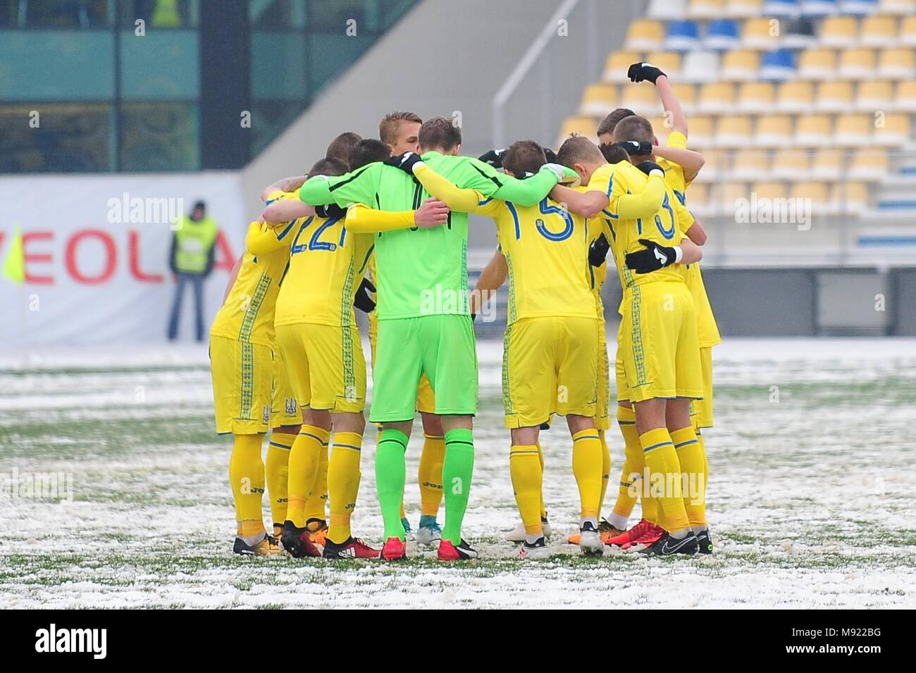 Ukraine team - UEFA European Under 19 Championship 2018, Elite Round -  game between Sweden and Ukraine, Photo: Cronos/Cristian Stavri, Ploiesti, 21.March.2018 - Stock Image