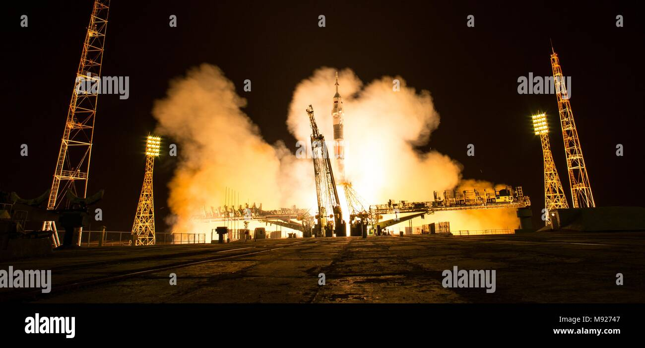 Baikonur, Kazakhstan. March 21, 2018. The Russian Soyuz MS-08 rocket lifts off carrying the International Space Station Expedition 55 crew from the Baikonur Cosmodrome March 21, 2018 in Baikonur, Kazakhstan. Russian cosmonaut Oleg Artemyev of Roscosmos and American astronauts Ricky Arnold and Drew Feustel of NASA will spend the next five months living and working aboard the International Space Station. Credit: Planetpix/Alamy Live News - Stock Image