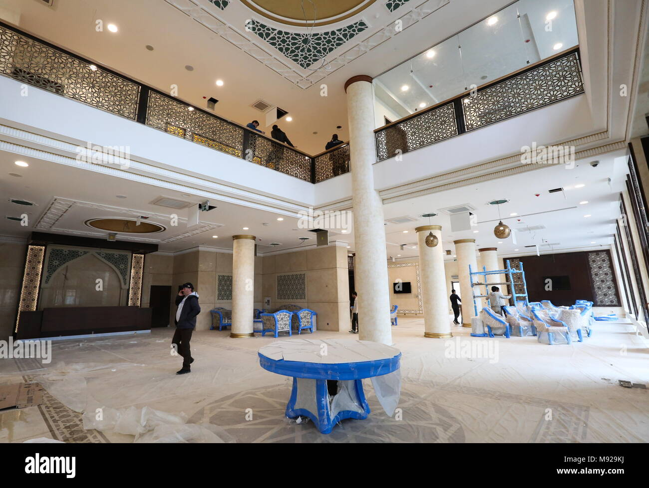 Grozny, Russia. 21st Mar, 2018. GROZNY, CHECHNYA, RUSSIA - MARCH 21, 2018: Lobby in The Local five star hotel under construction that is to be the base for Egypt's national football team during the 2018 FIFA World Cup. Yelena Afonina/TASS Credit: ITAR-TASS News Agency/Alamy Live News - Stock Image