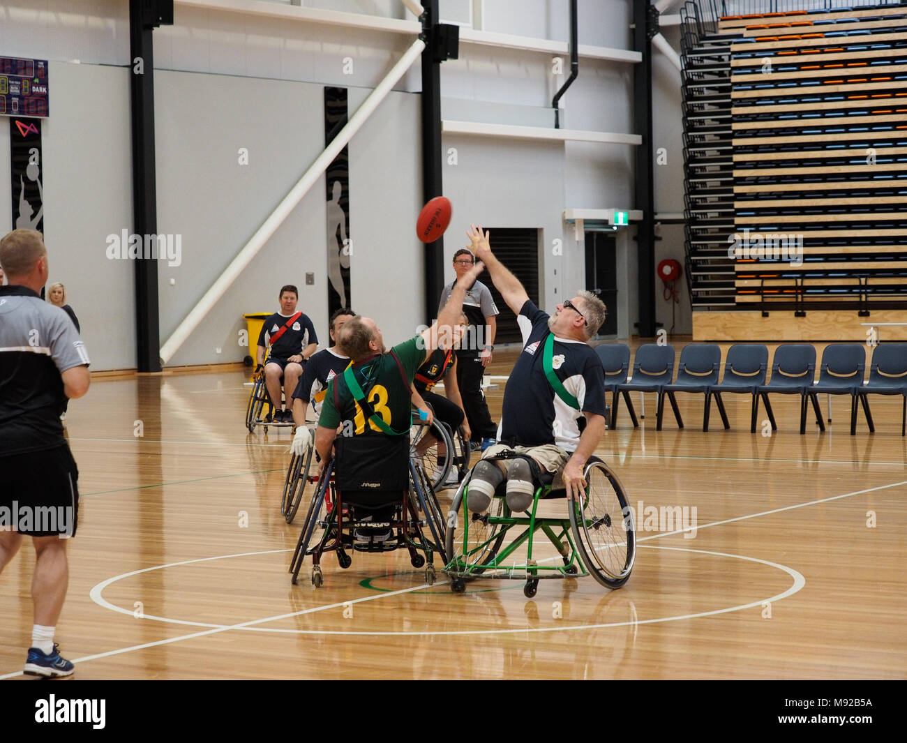 Melbourne, Australia. 22nd March 2018. 2018 Wheelchair Aussie Rules National Championship. Tasmania vs RSL Active. Credit Bill Forrester/Alamy Live News - Stock Image