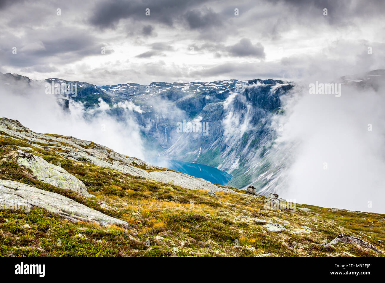 Beautiful norwegian landscape with mountains on the the way to trolltunga Stock Photo