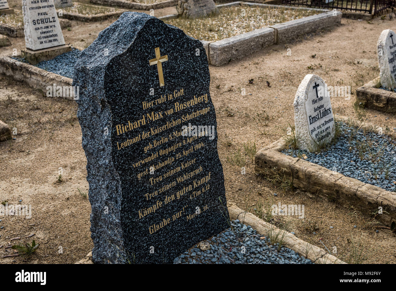 The graves of Schutztruppe soldiers in Okahandja spearheaded the genocidal war against the Herero and Nama in Namibia - Stock Image