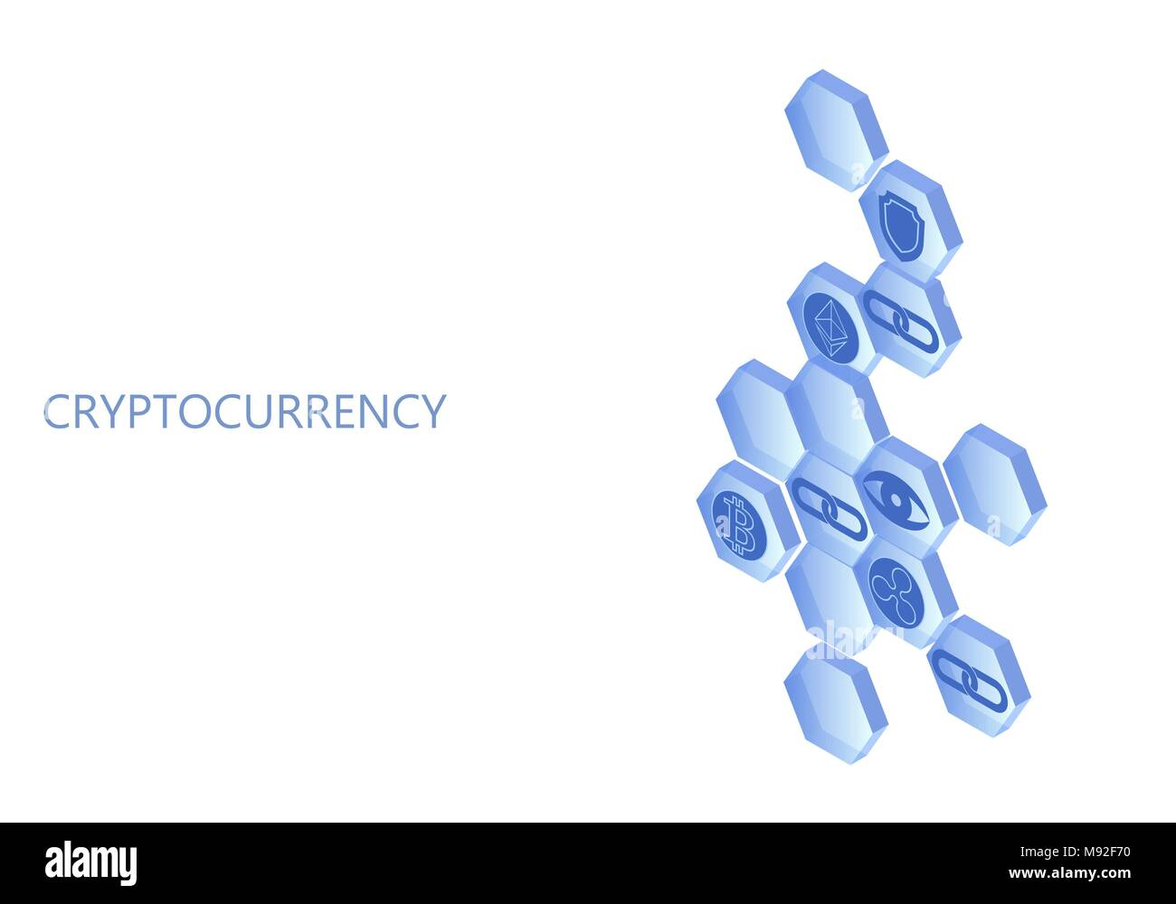 Blockchain blue isometric composition. Flat glowing hexagon sign safety shield Bitcoin Ethereum Ripple coin cryptocurrency online global 3d payment digital mining vector illustration - Stock Image
