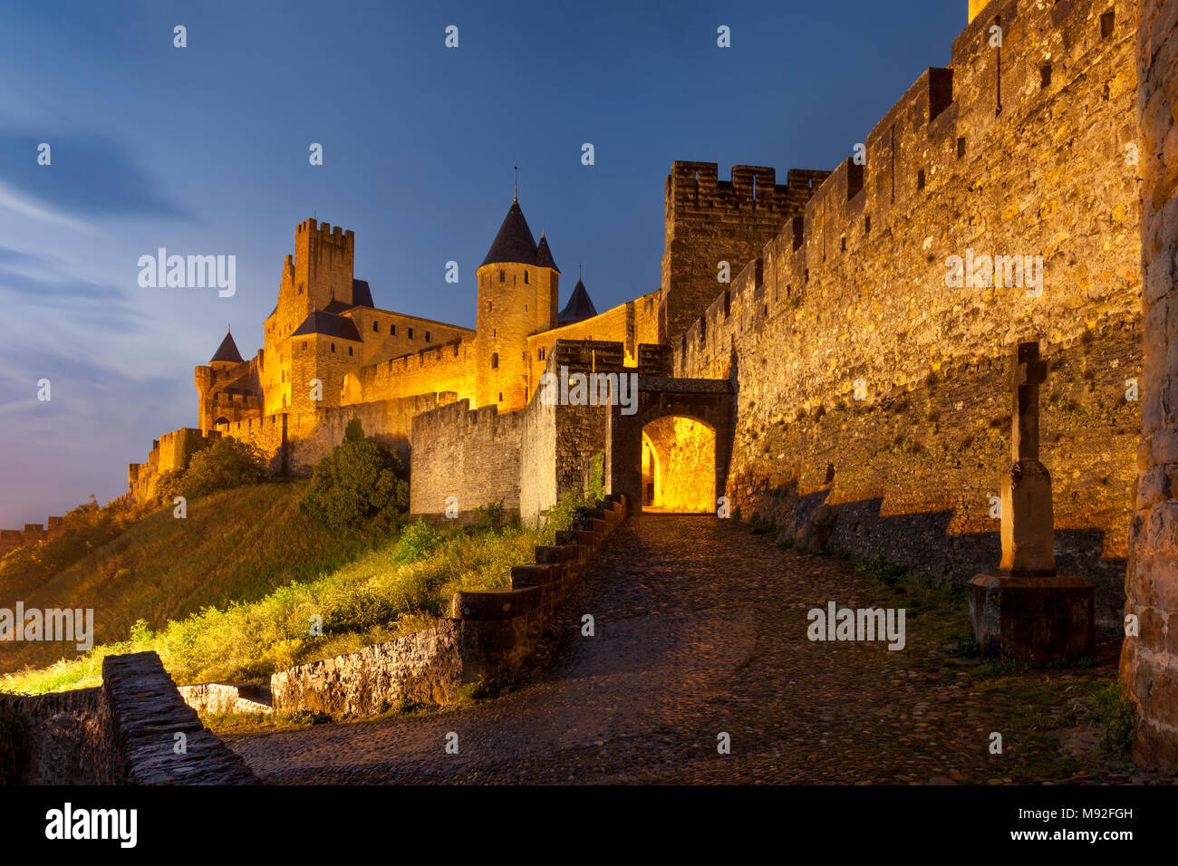 Gated entry to the fortified Cite Carcassonne, Occitanie, France - Stock Image