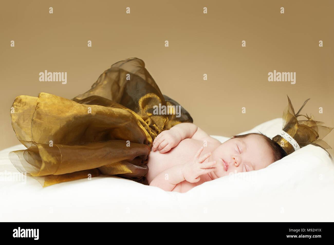 Baby, sleeping newborn - fine-art portrait, baby up to one month - Stock Image