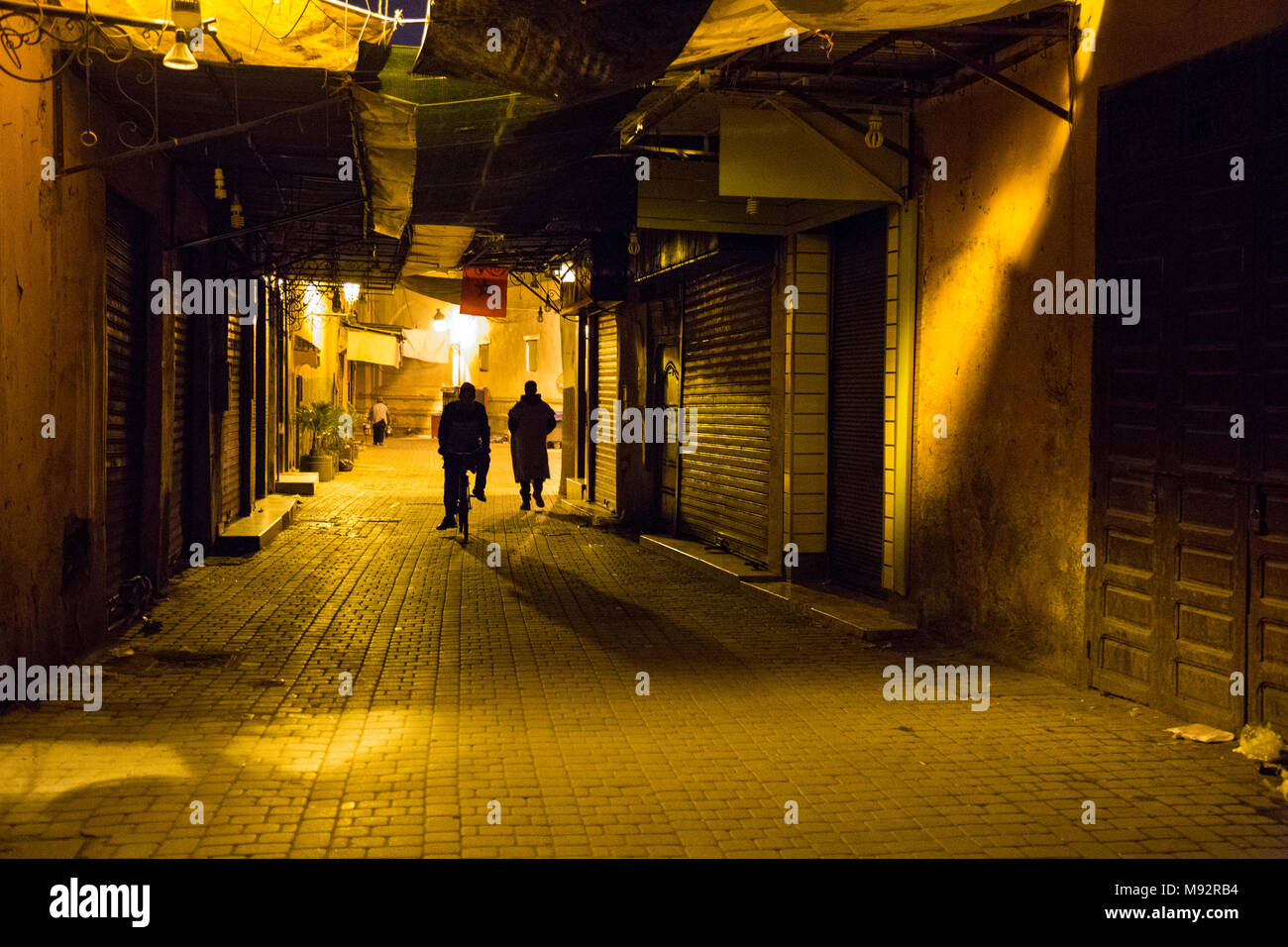 A dark mysterious alley in the Medina in Marrakesh, Morocco Stock Photo