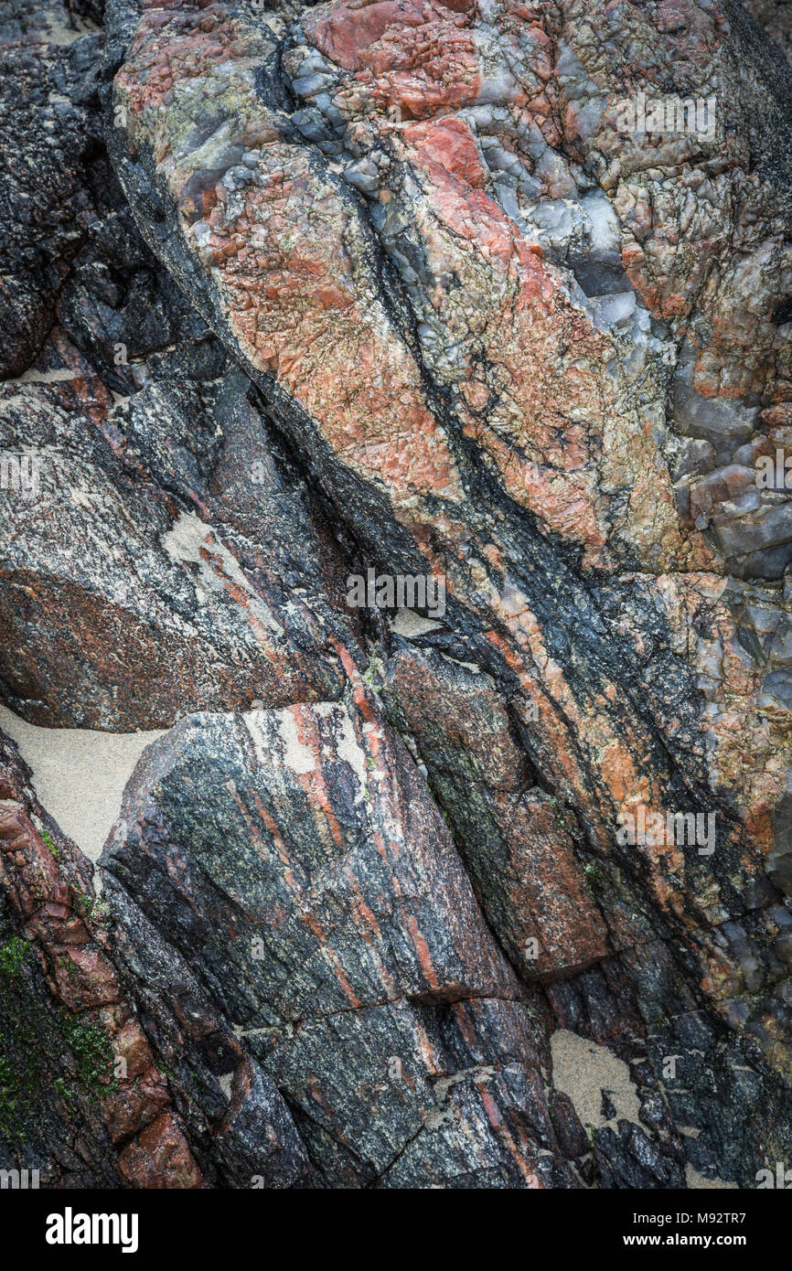 Rocks at Mangursta beach on the Isle of Lewis in the Outer Hebrides. - Stock Image