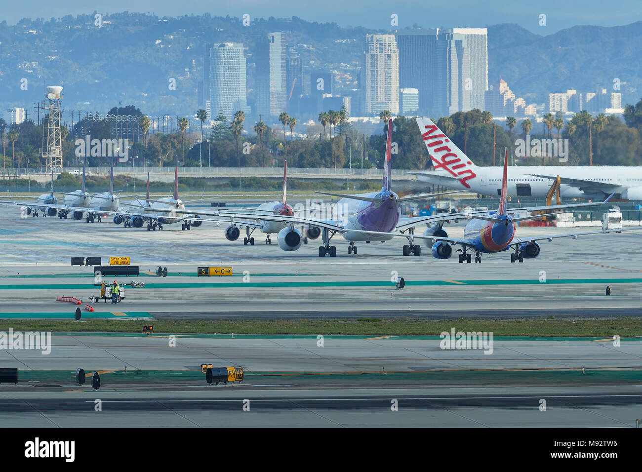 Line Of Waiting Passenger Jets, Awaiting The Departure Of President Trump In Air Force One At Los Angeles International Airport, LAX. 14 March 2018. - Stock Image