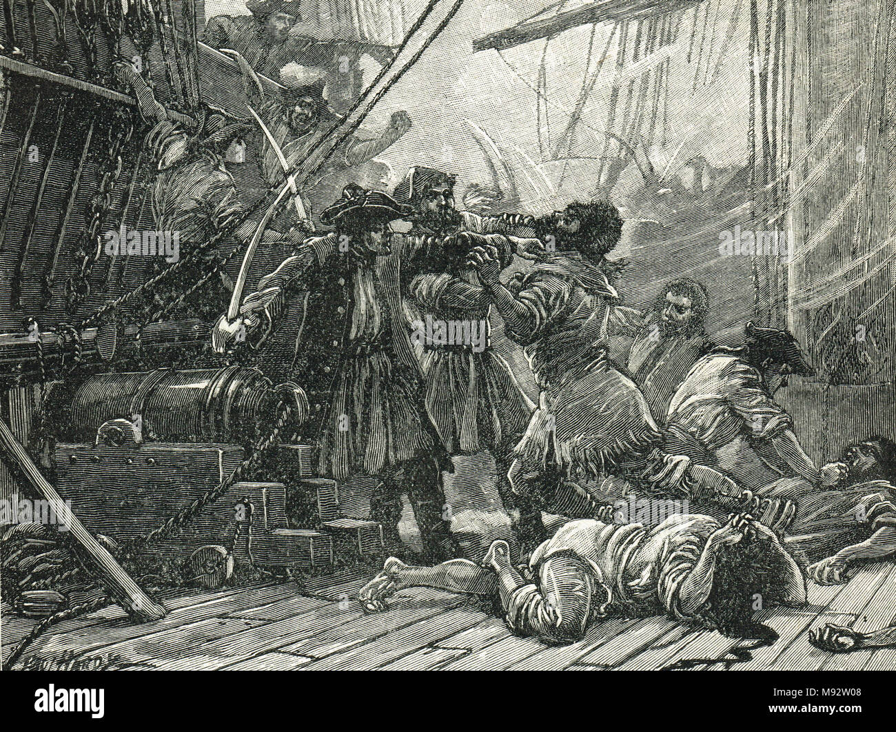 Revenue Cutters capturing an American smuggling vessel 1765 - Stock Image