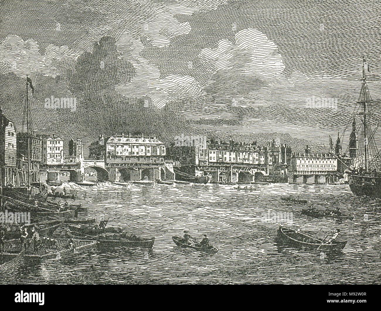Old London bridge in 1760 - Stock Image